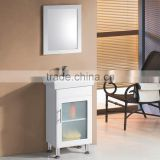 High glossy white glass sliding door cheap single bathroom vanity