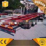 widely used 3 axle 20ft flatbed container semi trailer /40ft skeleton container semi-trailer