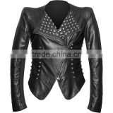Gothic faux-leather biker jacket for women