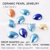 wholesale flat back pearl drop ceramics pearl beads & crystal rhinestone garment accessory unfading