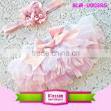 Newborn ruffle diaper cover baby cotton bloomers wholesale baby ruffle bloomers with headband                                                                                                         Supplier's Choice