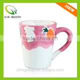 wholesale pink ceramic coffee cup with rabbit animal pattern