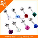 custom cheap body piercing jewelry tongue ring epoxy crystal balls fake tongue barbell ring