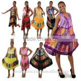 African knitted printed maxi umbrella dress / 2016 new design embroidery pattern kaftan & gowns wear