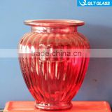 empty high quality glass candle holder customized glass bottle candlestick/ red glass storage jar