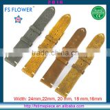FS FLOWER - Western Style Leisure Genuine Leather Watch Strap 20mm, 22mm, 18mm