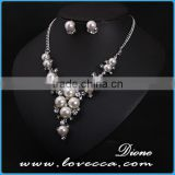 Latest designs elegant shinny crystal beaded pearl earrings new arrival 2015 necklace jewelry