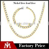 Factory Wholesale Stainless Steel NK Chain Bracelet Mens 6mm Flat Cuban Necklace Jewelry Sets