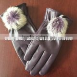 good price cow split suede fashion winter fur fingerless leather gloves