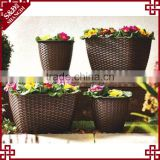 S&D European Style Set 4 Garden Plastic Rattan Planter Brown rectangle garden ridge flower pots
