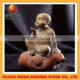 lovely little monk blow air marble stone statue