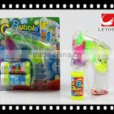 factory supply eco-freindly transparent flashing bubble gun with 2 bottles bubble water