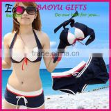 Hot Selling Stripe bikin three-piece suit,wholesale Fashion Designer preppy style Bikini swimwear models