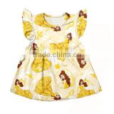 Hot selling baby girl spring flutter sleeve princess print kids dress