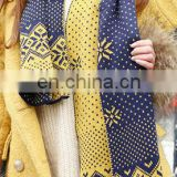 Figure Floral Knitting Two Colors Mixed Two Sides Winter Scarf Spot Textile Wool Womens Winter Issue