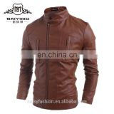 Wholesale Men's Stand-up Collar Motor Style Custom Pu Jacket Side Zip Faux Leather PU Jacket