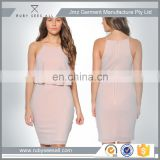 OEM fashion light pink Double Layer bodycon bandage Dress xs / plus size avalable 2016