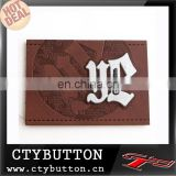 foil embossed metal logo on jeans pu label simple pattern good quality
