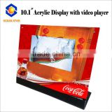 desk video displayer for supermarket deskop lcd screen video brochure with acrylic stand