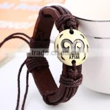 Twelve constellations ancient alloy leather bracelet for couples handmade leather bracelet