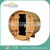 Traditional finnish sitting therapy barrel sauna wood