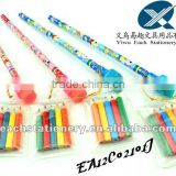 2012 personalized wood fancy pencils cartoon pencils with star eraser top&mini color pencil set on top