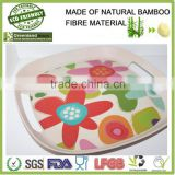 2016 new shaped bamboo fibre eco-friendly food lunch tray, dinner dishes holder, meal tray for supermarket