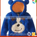 blue cool black bear design zipper hoodies cartoon hat coral velvet fabric kids jackets clothes winter warm kids coat