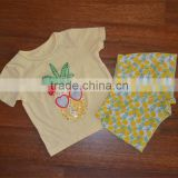 The little girl's dress clothing wholesale children's clothing fashion design/ Girls' yellow T-shirt
