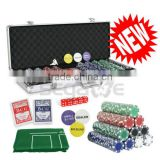 500 PCS Casino Poker Chips Set 11.5 Gram With Game Play Mat and Aluminium Case
