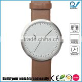 Stainless steel case brown leather strap lazer engraved logo watch quality finishing i love ugly watch style