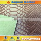 2016 fashion hot sell big brand bags material embossed snake skin synthetic leather for ladies handbags A1909