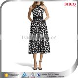 Black And Ivory Polka Dot Patterned Chiffon Midi Semi Formal Dresses