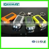 multicolor plastic 2 led flashlight keychain with solar rechargeable battery