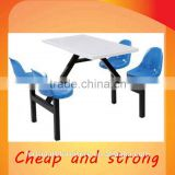 Hebei factory 4 person steel base cheap eatery dining table and chair set