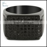 wholesale black cz sheet of ice mens bling bling ring