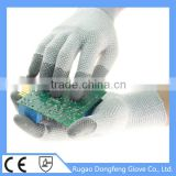 13 Gauge Antistatic Gloves PVC Dotted Palm& Back Both Sides / Electrical PU Fingertips Coated Hand Glove
