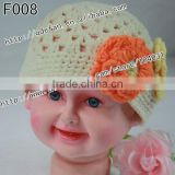 Wholesale 100% cotton crochet beanie hat beautiful baby girl hats knitted princess hat and cap