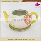 Factory direct product teapot shaped ceramic flower gardening planter with flower painting