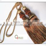 New design double tassel tieback tie backs for curtains decoration with pearls, trims and tassels made in Hangzhou China