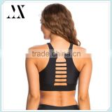 Medium support high round neckline racer back design with strappy cutout inset yoga sports bra