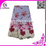 Latest top quality super wax hollandais cord lace fabric women wax cotton embroidery guipure lace