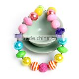 colorful bead easter baby girls chunky necklace in stock rainbow color beaded necklace for baby girl