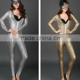 9312 2015 wholesale fashion new pattern european paint bright snakeskin leather sexy ladies club romper women performance set