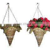 Banana leaf and Corn rope Star Cone hanging planter -Cone hanging basket hanging - cone flower pot