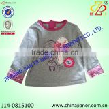 hot sale 100%cotton long sleeve t shirt for baby girl tshirt