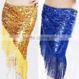 Gold Sequin Belly Dance Hip Scarf or Belt with Tassel for Belly Dancer QC0435