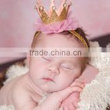 Simple design beauty pageant crown lace headwear / beauty rhinestone queen crown with shiny silk band tie for kids