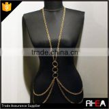 Simple Design Multi Gold Chain 3 Hoops Accessory Handmade Bikini Body Chain