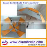 Best quality fashion special windproof square golf umbrella with fibergalss ribs for women